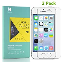 MOUKOU Vetro Temperato iPhone 5S/SE/5/5C Pellicola Protettiva 2 PACK in Vetro Temperato Screen Protector Film Ultra Resistente