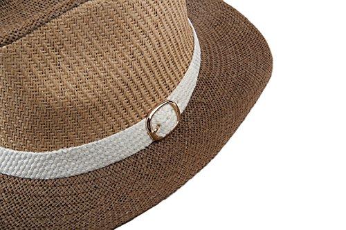 Dantiya-Femme Chapeau de soleil panama jazz plage en paille Café