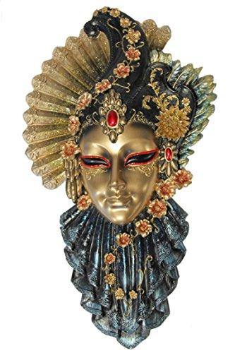 Stein Kunst Kostüm - Casa Collection 11096 Elegante venezianische Maske zum Hängen mit Fächer und verschiedenen Blüten, roter Stein auf Stirn, Breite 19, Höhe 32 cm