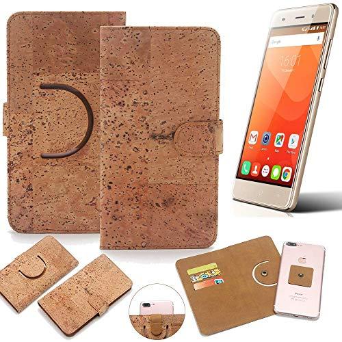 K-S-Trade Schutz Hülle für Haier Leisure L56 Handyhülle Kork Handy Tasche Korkhülle Schutzhülle Handytasche Wallet Case Walletcase Flip Cover Smartphone