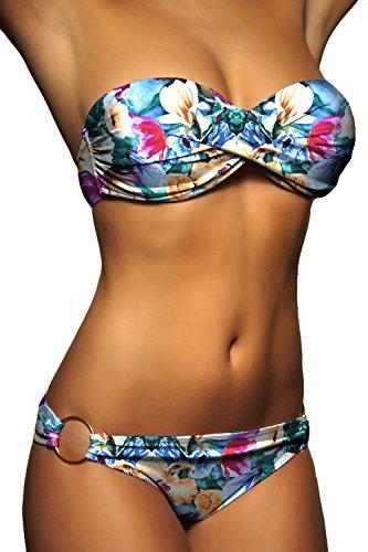 ALZORA Push Up Bandeau Twist Bikini Set Damen Pushup Badeanzug viele bunte Farben und Größen Top + Hose Set , 50002 F10