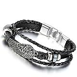 Flongo Bracelet Alliage Cuir Lien Poignet Aile d'Ange Multi-Rangs Tressé Perle Tissu Manchette Couleur Noir Fantaisie Bijoux Cadeau pour Femme Homme