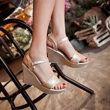 Damenschuhe Ferse Keile/Fersen/Peep Toe/Plateau Sandalen/Heels Outdoor/Kleid/Casual Silber/Gold, Golden, US 9 / EU 40/UK7/CN41 (Keile Canvas Leder)
