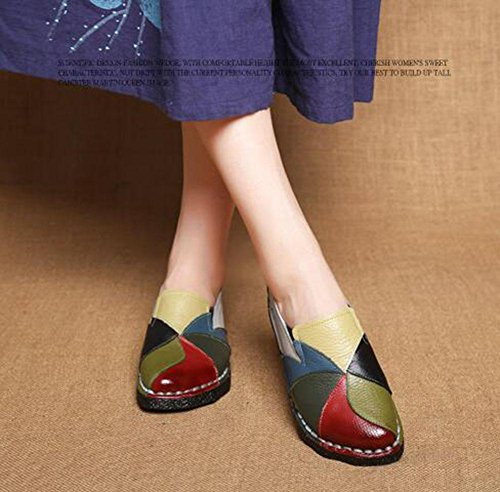 KUKI Scarpe miste a mano stile etnico con scarpe morbide basse morbide morbide a tacco basso 2