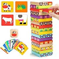 TOP BRIGHT Wooden Tumble Tower Game for Kids Age 3-8, Children Blocks Stacking Board Game for 3 4 5 Year Old Boys Girls Educational Toys with 51 Pieces