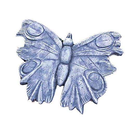 Steinfigur Schmetterling Relief Wandbild hängen Steinguss Vogel Patiniert Deko Frostfrei