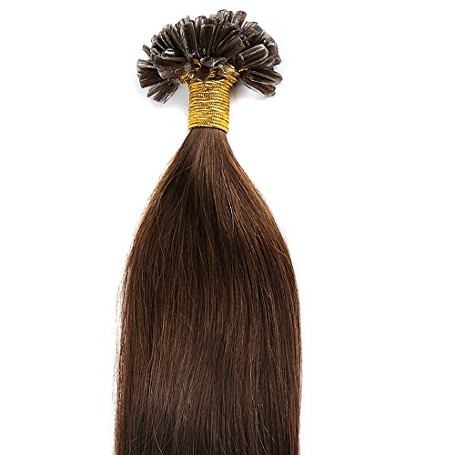 200 ciocche 50cm hair extension capelli veri indiani u-tip cheratina 100% remy human hair allungamento, 04# marrone cioccolato