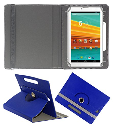 ACM ROTATING 360° LEATHER FLIP CASE FOR KARBONN ST-72 TABLET STAND COVER HOLDER DARK BLUE  available at amazon for Rs.149