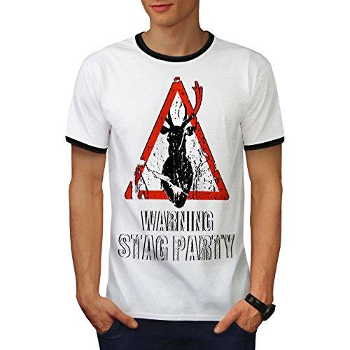wellcoda Warnung Party Komisch Hirsch Männer T-Shirt Zurück Junggeselle Grafikdesign-T-Stück -