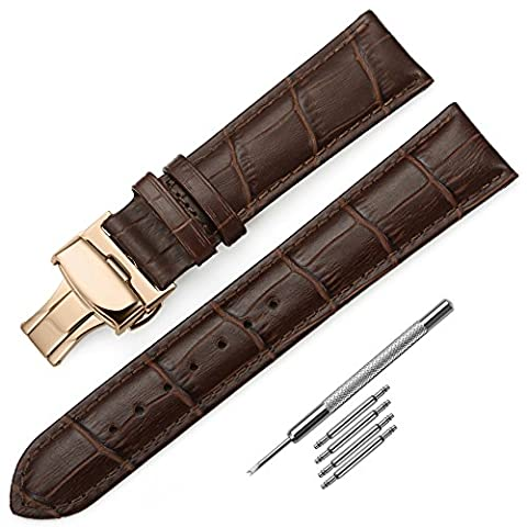 Leather Watch Strap 22mm iStrap Brown Replacement Watch Band Rose Gold Deployment Buckle Embossed Pattern For Men