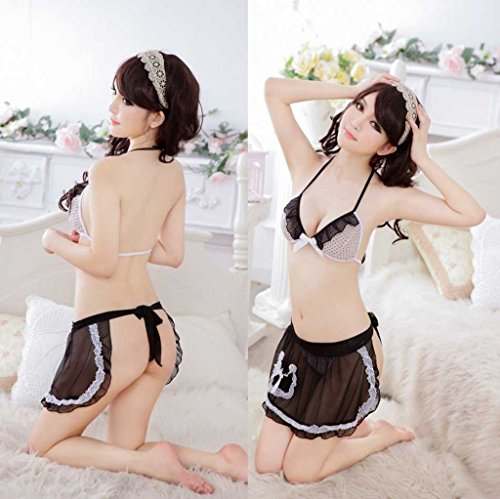 Shangrui Femmes Romantique 3-points Underwear Belle Dentelle Tabliers Pyjamas Suit W567 Noir