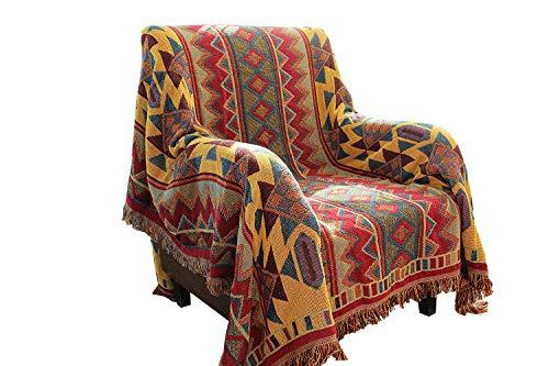 HNNSI Bohemian Baumwolle Gewebte Decke/Überwurf mit Fransen, Handtuch Wende Sofa Couch Decke Überwurf für Bett-Stuhl, Home Office Decor Quasten Decke, Baumwolle, Multi, 51x70inch