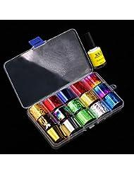 IGEMY Ein Satz von Nail Art Transferfolie 15 Farben Aufkleber für Nagel Spitze Dekoration & Star Kleber (A)