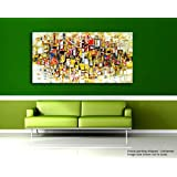[Sponsored]Tamatina Modern Art Canvas Paintings - Squares Up - Abstract Paintings - Large Paintings - Paintings For Living Room - Paintings For Bedroom - Abstract Wall Paintings.