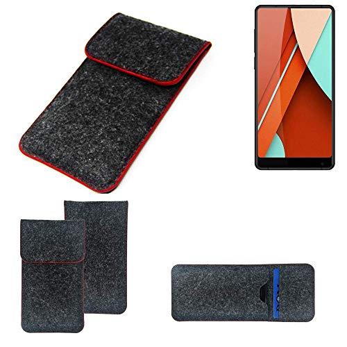 K-S-Trade® Filz Schutz Hülle Für Bluboo D5 Pro Schutzhülle Filztasche Pouch Tasche Case Sleeve Handyhülle Filzhülle Dunkelgrau Roter Rand