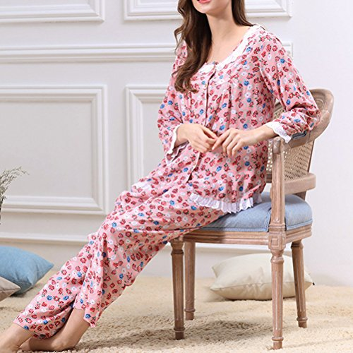 Zhhlinyuan Two pieces Floral Sleepwear Women's Long Sleeve Pyjama Set 2 Colors red