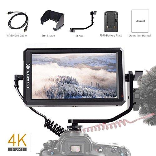 FeelWorld F6 Kamera Monitor LCD Feldmonitor Bildschirm 5,7 Zoll IPS 1920x1080 Full HD 4K HDMI DC-Ausgangsleistung mit Kipparm für Canon Nikon Panasonic Sony DSLR Kamera (Zebra X 5 8)