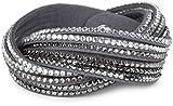 styleBREAKER weiches Strass Armband, eleganter Armschmuck mit Strassteinen, Wickelarmband, 6x1-Reihig, Damen 05040005, Farbe:Dunkelgrau / Silber-Hellgrau-Klar