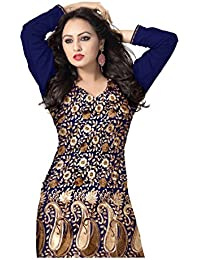 [Sponsored Products]WOA Women's Acrylic Winter Wear Embroidered Salwar Suit Set (Navy Blue)