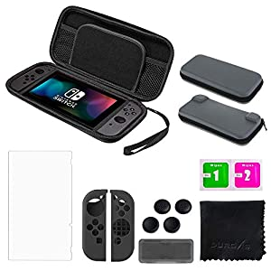 Nintendo Switch Zubehör-Set – Durovis Gaming – Starter Kit inkl.: Hardcover Tasche / Displayschutzfolie aus Panzerglas / Joy-Con-Gummi-Hüllen / Gamekarten-Case / Analogstick-Aufsätze / Mikrofasertuch