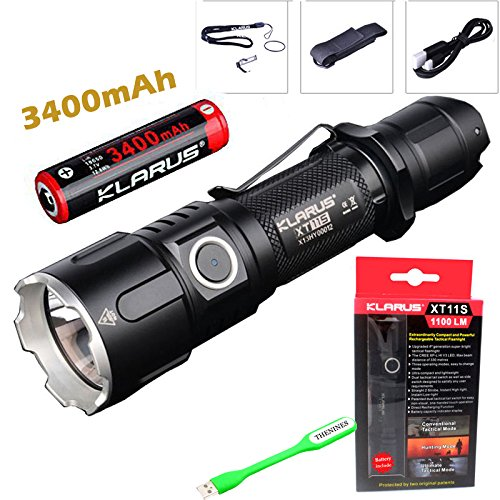 EHome-Bundle KLARUS XT11S CREE XP-L HI V3 LED, torcia a LED, 1100 lumen, impermeabile, 2 pile CR123A, 1 x 18650-Torcia con 3400mAh Thenines USB Light & bag