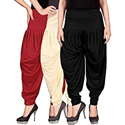 Dhoti pants for women -Culture the Dignity Womens Lycra Dhoti Patiala Salwar Harem Pants CTD_00RCB_1-RED-BEIGE-BLACK-FREESIZE - Combo Pack of 3