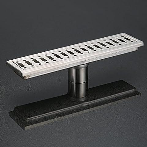 KINSE® Desagüe en el suelo enlosable canal de ducha de desagüe de ducha 30cm (flujo de agua en el medio)- acero inoxidable