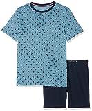 Tommy Hilfiger Jungen Zweiteiliger Schlafanzug Short Set SS Mini Flag, Blau (Blue Heaven/Navy Blazer 057), 140 (Herstellergröße: 8-10)