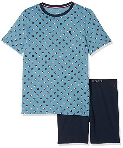 Tommy Hilfiger Jungen Short Set SS Mini Flag Zweiteiliger Schlafanzug, Blau (Blue Heaven/Navy Blazer 057), 152 (Herstellergröße: 10-12) (Hilfiger Jungen-shorts Tommy)
