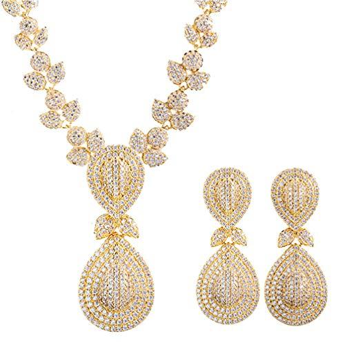 WANZIJING Schmucksets, Zirkonia Stones Luxus Dubai Gold Farbe Braut Hochzeit Halskette Ohrringe für Frauen (Kostüm Braut Schmuck Online)