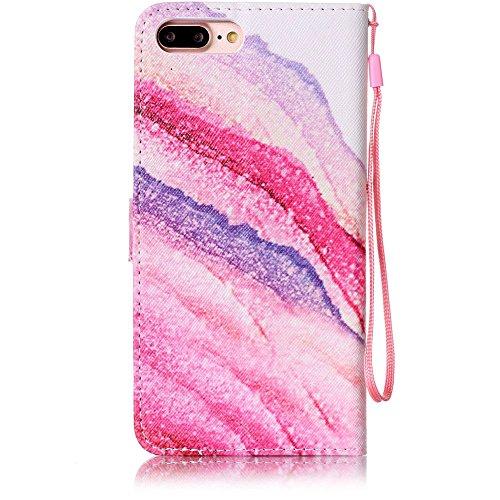 """Cuir Portefeuille Coque pour Apple iphone 7 Plus 5.5"""" Bleu, Élégant iPhone 7 Plus étui Rabat Style, Case iPhone 7 Plus, Joli Image Imprimé - Fleur bleue Rose-2"""