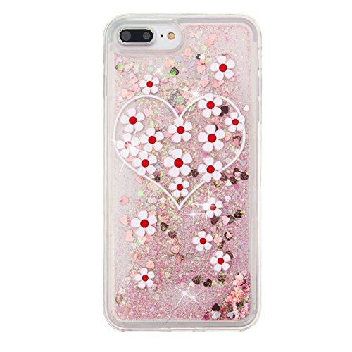 Coque iPhone 7 , Glitter Liquide TPU Etui Coque pour Apple 7 ,CaseLover Amour otif Mode Etui Coque Dynamic Etoiles Paillettes Sable TPU Slim pour Apple iPhone 7 (4.7 pouces) Mode Flexible Souple Soft  Amour