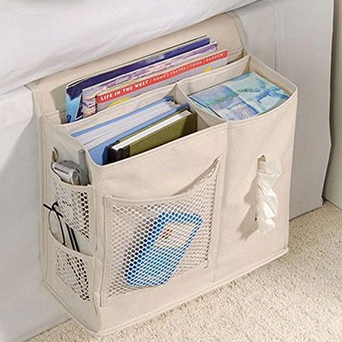 panniuzhe 6 taschen nachttisch storage bett organizer zum aufh ngen tasche f r armbanduhr handy. Black Bedroom Furniture Sets. Home Design Ideas