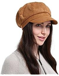 Eozy GEMVIE Casquette Base-Ball Femme en Suédé Style Anglais Chapeau ... 6565d03a0d6