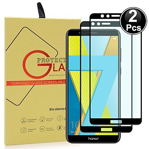 Ash-case 2xHuawei Honor 7X Bildschirmschutzfolie, HD Ultra-klar Anti-Kratz Anti-Fingerabdruck Bildschirmschutzfolie Glas Panzerglas Folie Screen Protector (Vollständige Abdeckung)