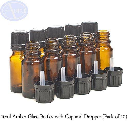 Preisvergleich Produktbild 10er-PACKUNG - 10ml BRAUNGLAS-Flaschen mit Schwarzen Sicherheitsverschlusskappen & Dosier-Tropfern. Ätherisches Öl / Verwendung in Aromatherapie