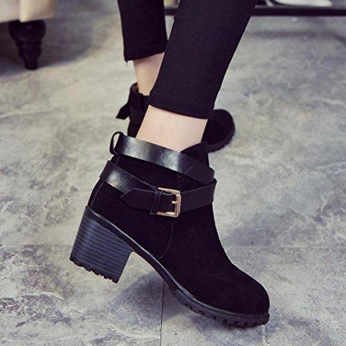 Stivali Donna Invernali, BeautyTop Autunno alti con tacco alto Stivaletti Boots Scarpe da donna Martin High Heels Nero
