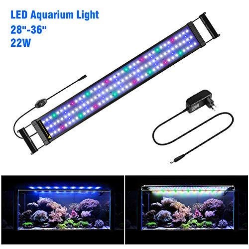 FTALGS Aquarium LED Beleuchtung Aquariumbeleuchtung Weiß Blau Rot Grün von Licht (80A=29.5''-39.3''(72CM)) -
