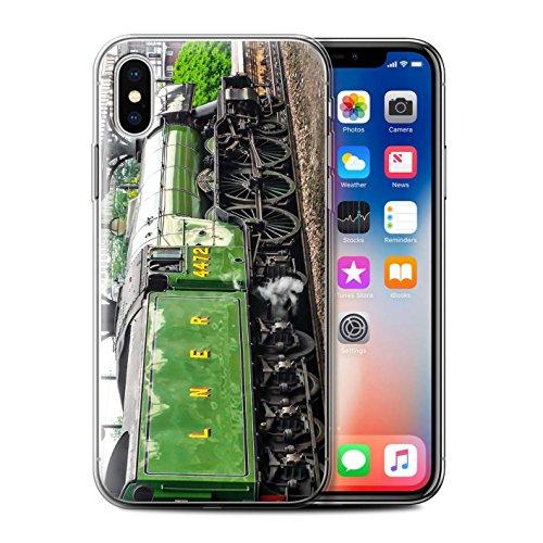 Stuff4 Gel TPU Hülle / Case für Apple iPhone X/10 / Scotsman/Bahnsteig Muster / Dampflokomotive Kollektion Scotsman/Grün