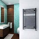 Milano Brook Anthracite Heated Towel Rail - Designer Ladder Style Straight Bathroom Radiator Warmer - 800mm x 600mm