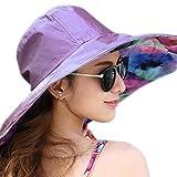 Béisbol Sombrero de sol playa mar Mujer Protección Solar anti-UV gorra de doble cara plegable lienzo gran sombrero de verano Mode para sortir viaje playa Vacance, morado claro, M(56-58CM)