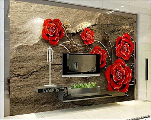 Hojuan Dekoration 3D Tapete Hintergrundbild Walllpaper Wallpaper Stereo Rose Marmor Fernseher Sofa Hintergrund Wand Schönheit Wallpaper Bebang Wandmalerei Fresko mural 350cmX260cm 6280 Stereo