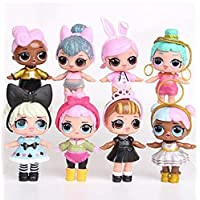 8pcs L.O.L Surprise Dolls Lovely Eyes PVC Figures Cake Topper Gift Kid Toy (8 Pcs - A)