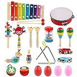 LinStyle Muziekinstrumenten, 24 Stks 13 Soorten Houten Muzikaal Speelgoed Set Percussie Instrument Speelgoed Tamboerijn Xylophone Vroeg Leren Muzikaal Speelgoed Set voor Jongens Meisjes met Draagtas