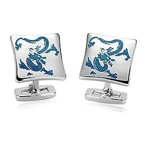 Bishilin 1 Paar Edelstahl Hochzeit Manschettenknöpfe Rechteck Chinese Drachen Manschettenknopf Hemd Silber