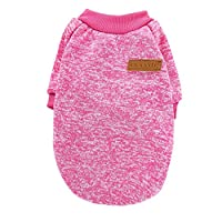 Catkoo Pet Clothes,Winter Warm Woolen Yarn Knit Dog Cats Sweater Pullover Jacket Coat Pet Clothes,Made From US Premium Cotton, Let Your Pet Spend a Warm Winter Rose Red XS