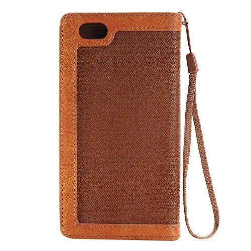 Phone case & Hülle Für iPhone 6 / 6s, Denim Texture Magnetic Horizontale Flip Leder Tasche mit Halter & Card Slots & Wallet & Lanyard ( Color : Blue ) Orange