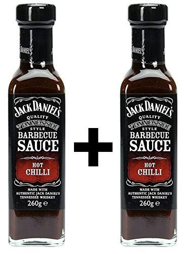 Exquisite Original Jack Daniels Barbecue Sauce Hot Chilli zum Grillen, 2x 260ml (Jack Daniels-hot-sauce)