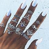 Yesiidor 13 pcs Midi Ringe Set Silber Für Damen Retro Fingerring Nagel Finger