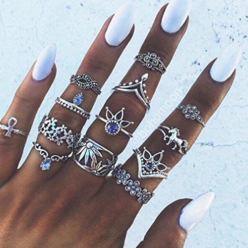 Yesiidor 13 pcs Midi Ringe Set Silber Für Damen Retro Fingerring Nagel Finger (Ringe)